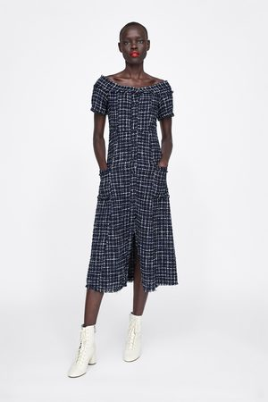 Zara Mujer Vestidos - Vestido tweed botón joya