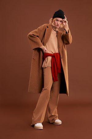 Zara Abrigo largo efecto pelo