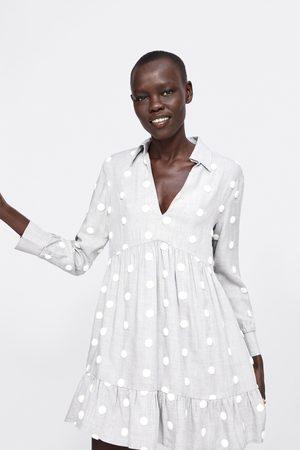 Zara Vestido lunares combinados