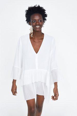 Zara Blusa plisado combinado