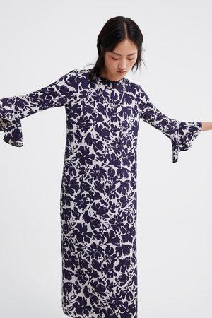 Zara Vestido estampado manga volante