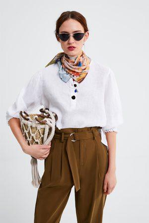 Zara Blusa lino botones