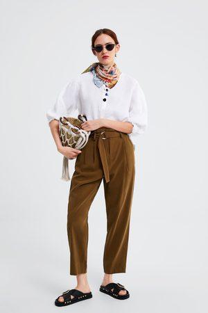 Zara Pantalón cintura paperbag cinturón
