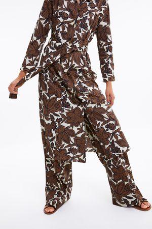 Zara Túnica estampado floral cinturón