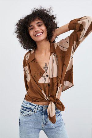 Zara Camisa estampada nudo