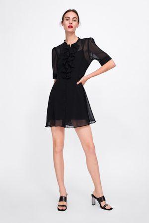 Zara Vestido semitransparente volantes