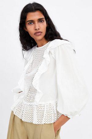 Zara Blusa bordado perforado
