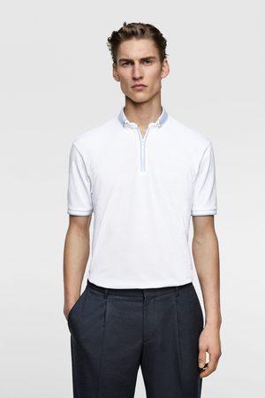 Zara Hombre Polos - Polo combinado cremallera