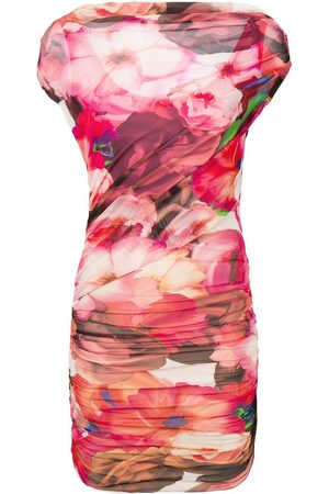 Msgm Mujer Asimétricos - Floral asymmetric dress