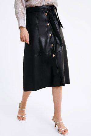 Zara Mujer De piel - Falda efecto piel