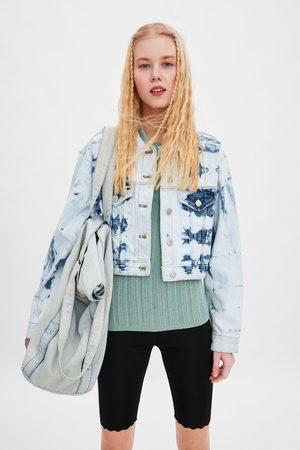 Zara Cazadora denim cropped tie dye