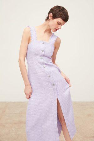 Zara Vestido tweed botón joya