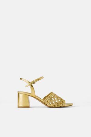 Zara Mujer De tacón - Sandalia tacón ancho trenzada