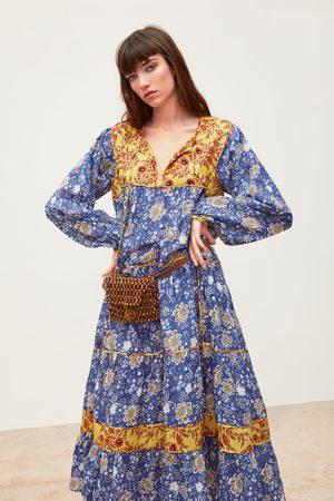Zara Vestido estampado combinado