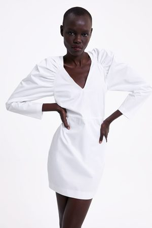 Zara Vestido popelín manga abullonada