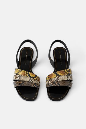Zara Mujer Con hebilla - Sandalia plana tiras estampado animal
