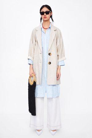 chaqueta paño deshilachada zara azul marino