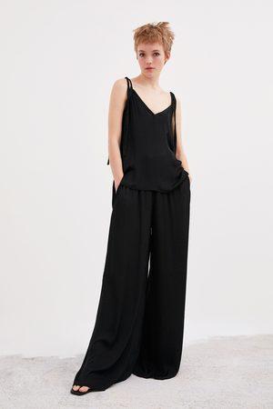 Zara Mujer Anchos y de harem - Pantalón ancho fluido