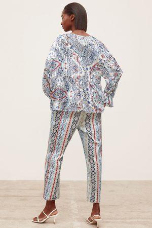 Zara Blusa estampada hilo metalizado