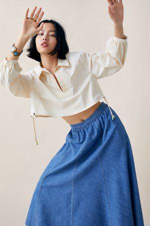 Zara Falda zw premium swing denim cool blue