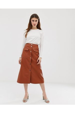 ASOS Leather look midi skirt with popper front and statement pockets