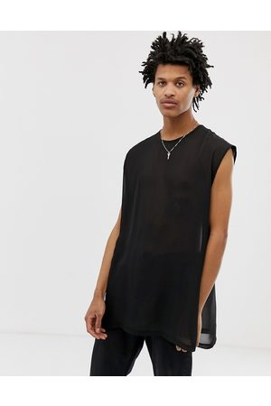 ASOS Hombre Playeras - Oversized super longline sleeveless t-shirt with side splits in sheer woven fabric