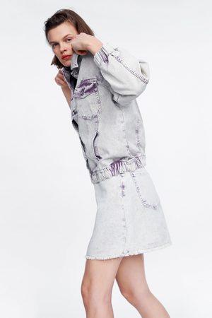 Zara Falda mini denim efecto lavado
