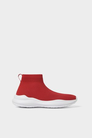 Zara Hombre Botines - Deportivo calcetín rojo