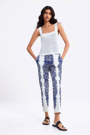 Zara Pantalón chino estampado
