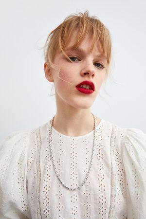 Zara Camisa perforado bordado combinado