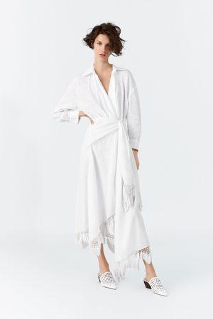 Zara Vestido pareo lino flecos