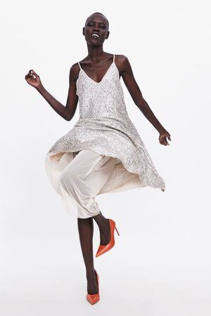 Zara Vestido tirantes lentejuelas