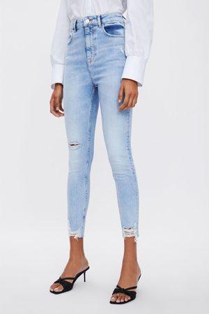 Zara Jeans z1975 high rise skinny rotos