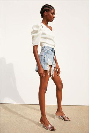 Zara Mujer De mezclilla - Short denim hi rise rotos
