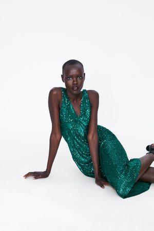 Zara Vestido lentejuelas cortes