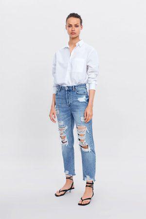 Zara Jeans z1975 high rise straight rotos