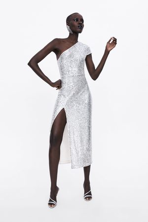 Zara Vestido lentejuelas asimétrico