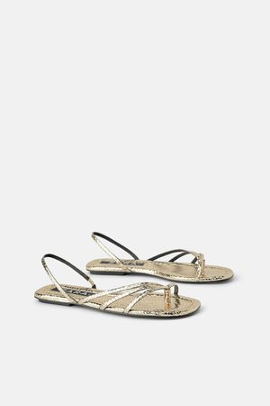 Zara Mujer Sandalias - Sandalia plana estampado animal