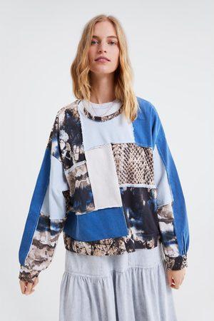 Zara Mujer Sudaderas - Sudadera oversize combinada patchwork