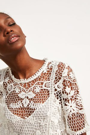 Zara Vestido combinado crochet