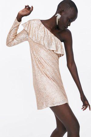 Zara Mujer Vestidos - Vestido lentejuelas volante