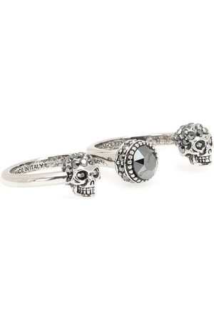 Alexander McQueen Double Mini Skull embellished ring