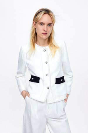 Zara Chaqueta combinada botón joya