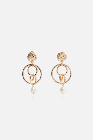 Zara Pendientes aros perla natural