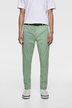 Zara Hombre Chinos - Pantalón chino cinturón