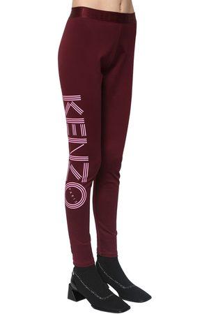 Kenzo Leggings De Algodón Stretch Con Estampado