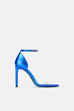 Zara Sandalia tacón piel blue collection