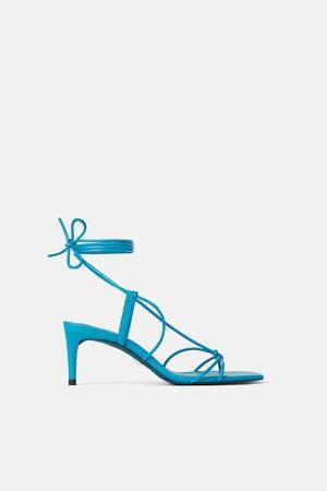 Zara Zapato tacón medio piel metalizado blue collection