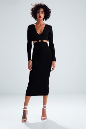 Zara Vestido largo punto cut out