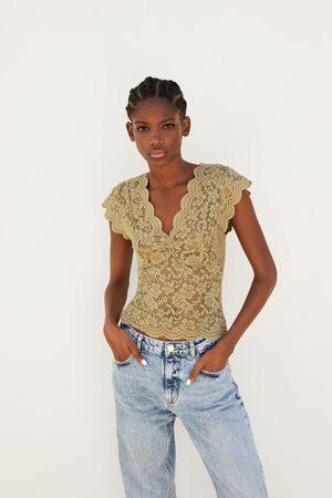 Zara Mujer Playeras - Camiseta encaje elásticos